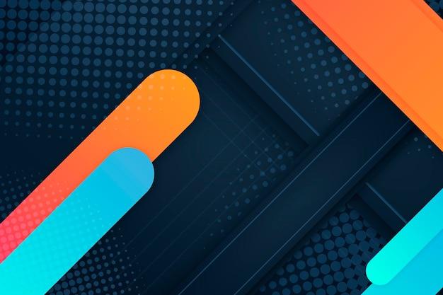 Fondo de medios tonos naranja y azul líneas