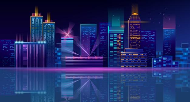 Fondo de megapolis de neón con edificios, rascacielos.
