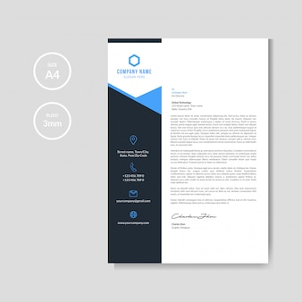 Fondo de membrete azul moderno