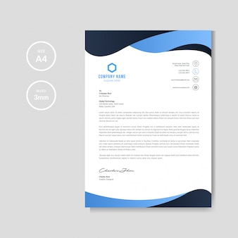 Fondo de membrete ondulado azul moderno