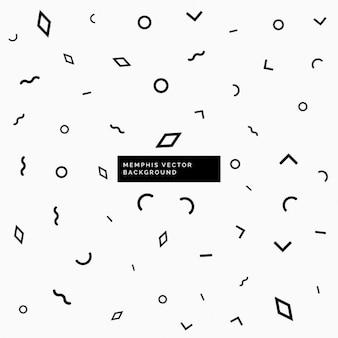 Fondo memphis blanco y negro con formas geométricas