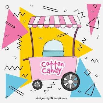 Fondo memphis de carrito de algodón de azúcar