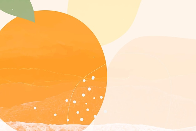Fondo de memphis de fruta naranja dibujada a mano