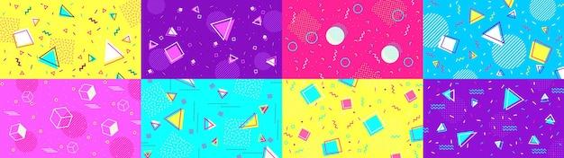 Fondo de memphis funky de los 90. formas abstractas hipster y patrones geométricos funky