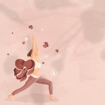 Fondo de mente y cuerpo con ilustración de mujer yoga floral