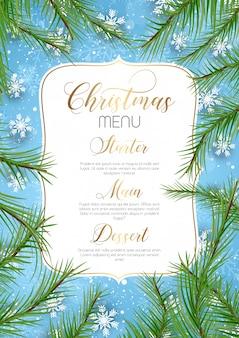 Fondo de menú de navidad con ramas de árboles de navidad