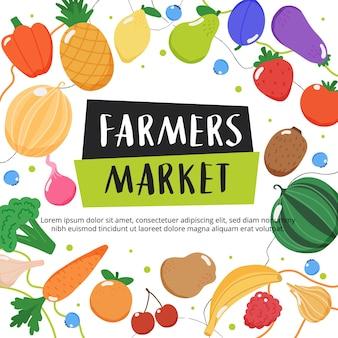 Fondo de mercado de agricultores con frutas y verduras y letras dibujadas a mano