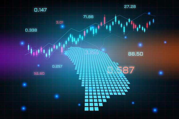 Fondo del mercado de valores o gráfico de negocio de comercio de divisas para el concepto de inversión financiera del mapa de dominica.