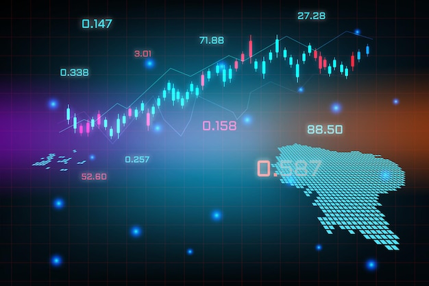 Fondo del mercado de valores o gráfico de negocio de comercio de divisas para el concepto de inversión financiera del mapa de ecuador.