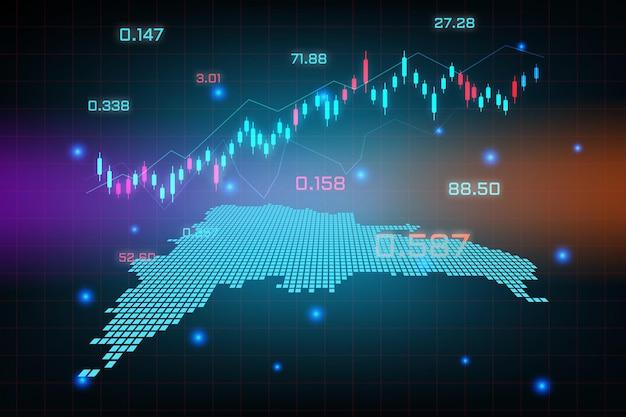 Fondo del mercado de valores o gráfico de negocio de comercio de divisas para el concepto de inversión financiera del mapa de república dominicana.