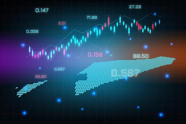 Fondo del mercado de valores o gráfico de negocio de comercio de divisas para el concepto de inversión financiera del mapa de timor oriental.