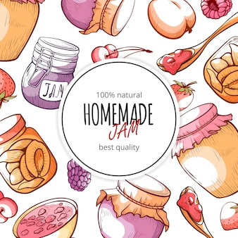 Fondo de mermelada y mermelada natural casera