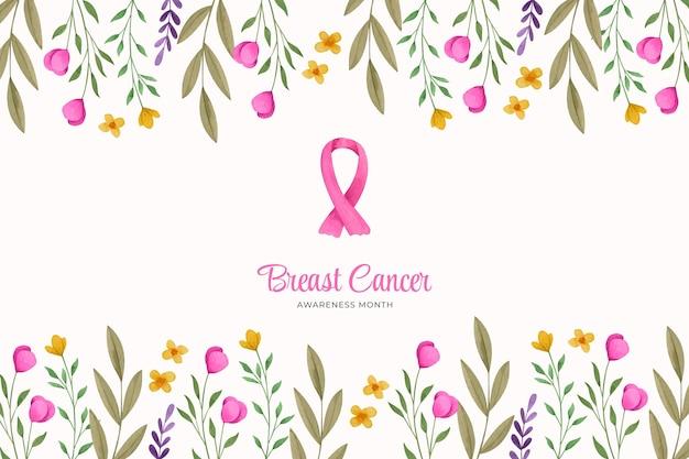 Fondo del mes de concientización sobre el cáncer de mama en acuarela