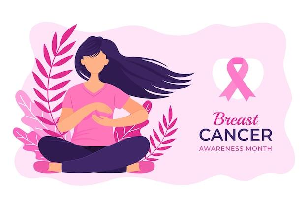 Fondo del mes de concientización sobre el cáncer de mama plano dibujado a mano