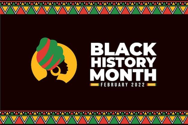 Fondo de mes de historia negro plano dibujado a mano