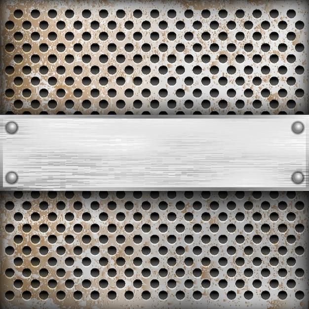 Fondo de metal con placa para texto