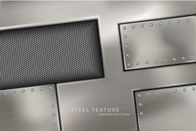 Fondo de metal remaches y tornillos de acero remachado.