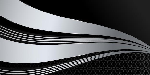 Fondo metálico abstracto negro y plateado 3d moderno con decoración de patrón de textura y luz brillante.