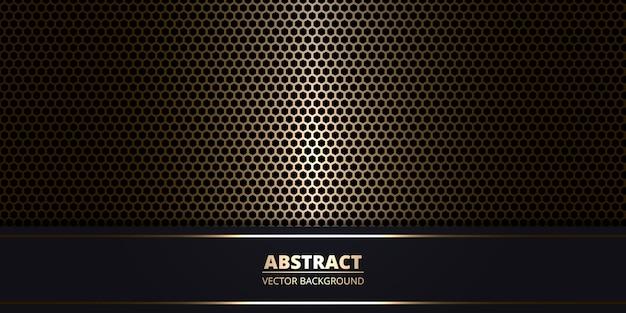 Fondo metálico abstracto oscuro con fibra de carbono hexagonal de oro.