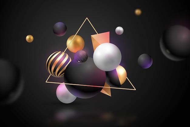Fondo metálico de esferas 3d