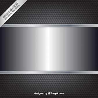 Fondo metálico negro con banner