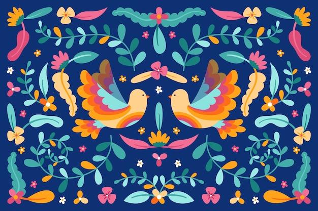 Fondo mexicano con flores y pájaros