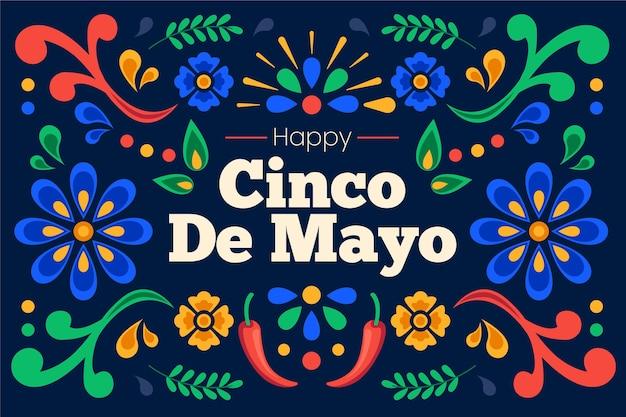 Fondo mexicano plano cinco de mayo