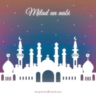 Fondo con mezquita de milad un nabi