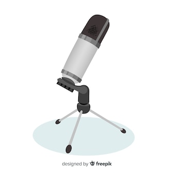 Fondo micrófono realista plano