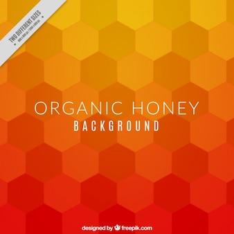 Fondo de miel con hexágonos naranjas