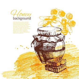 Fondo de miel con ilustración de boceto dibujado a mano