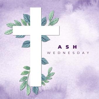 Fondo de miércoles de ceniza con cruz