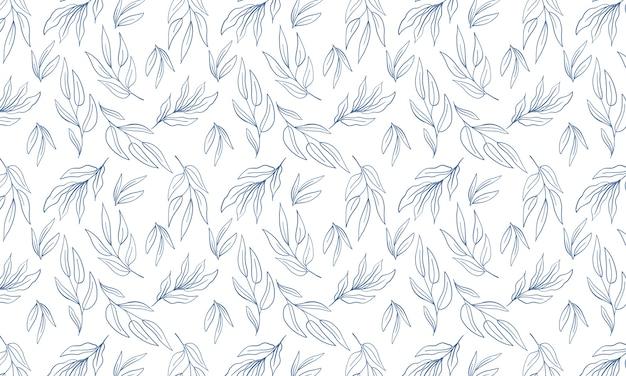 Fondo minimalista de hoja botánica simple. fondo de pantalla de arte de línea dibujada a mano. repita el patrón sin costuras.