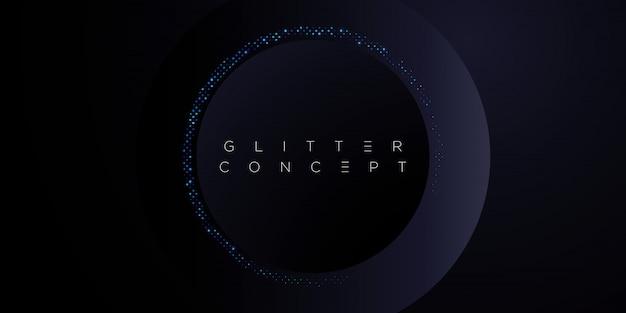 Fondo minimalista premium azul oscuro con elementos geométricos dorados de lujo y patrón de medios tonos. telón de fondo de brillo para póster, tarjeta de invitación, pancarta, folleto, portada, etc.