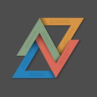 Fondo minimalista con triángulos de papel.