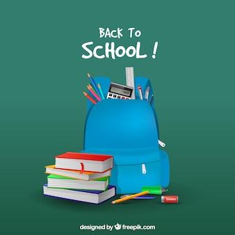 Fondo de mochila azul y libros en estilo realista