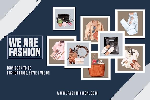 Fondo de moda con atuendo, accesorios
