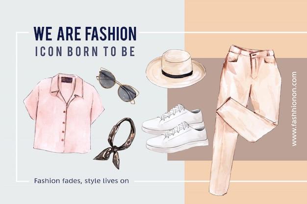 Fondo de moda con camisa, gafas de sol, pantalones, zapatos