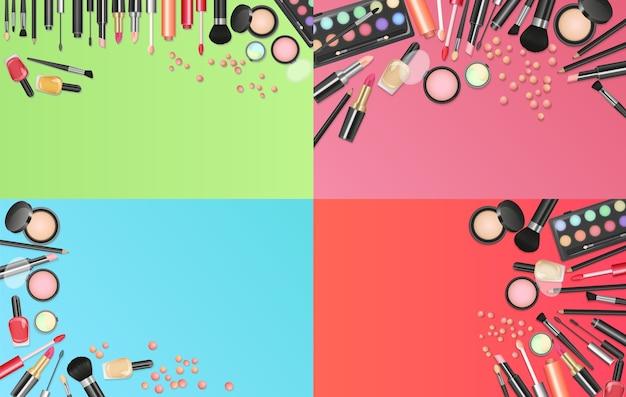 Fondo de moda de cosméticos con conjunto de herramientas de artista de maquillaje