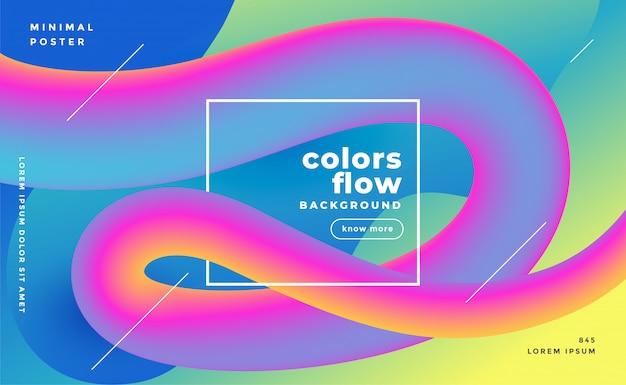 Fondo de moda de onda de flujo de fluido colorido 3d