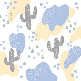 Fondo del modelo del extracto del cactus del drenaje de la mano