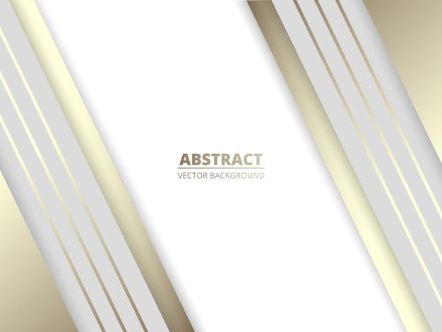 Fondo moderno abstracto de lujo blanco con líneas blancas y doradas y sombras.