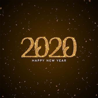 Fondo moderno de año nuevo 2020 con texto de brillo