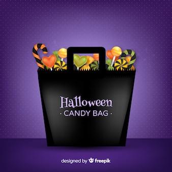 Fondo moderno de bolsa de golosinas de halloween