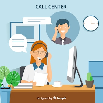 Fondo moderno de call center en estilo flat
