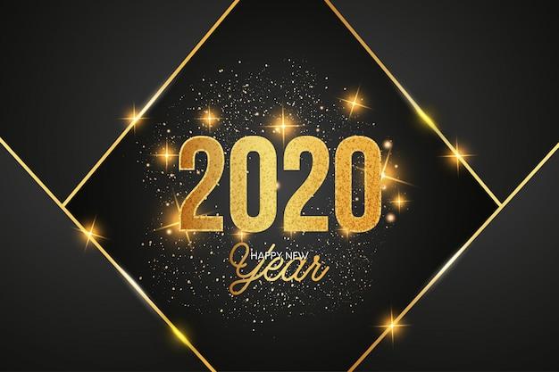 Fondo moderno de celebración 2020 con formas doradas