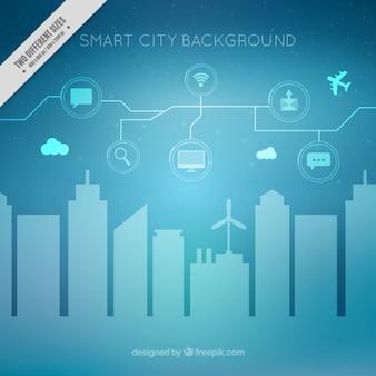 Fondo moderno de ciudad inteligente con iconos