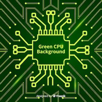 Fondo moderno de cpu en color verde