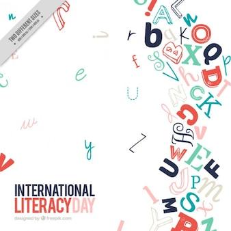 Fondo moderno de letras del día de la alfabetización