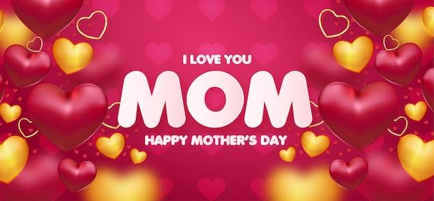 Fondo moderno del día de las madres con marco de corazones realistas